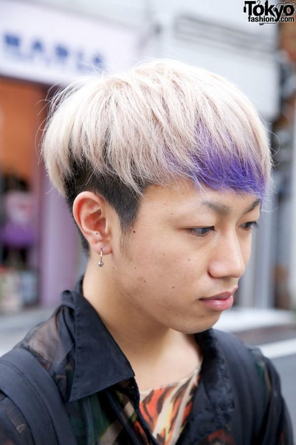 Blonde hair w/ purple tips & hoop earring