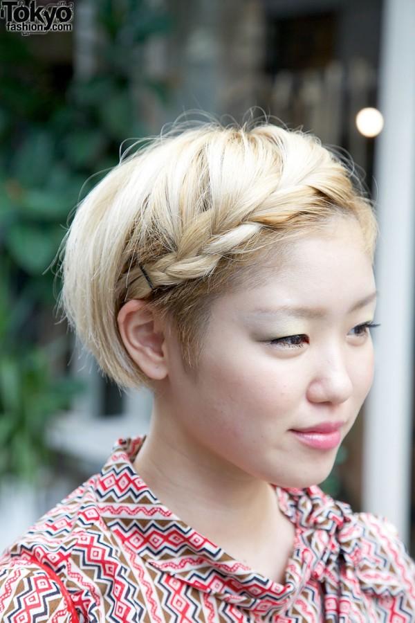 Girl's short hair with braid