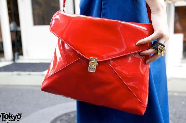Retro red vinyl purse