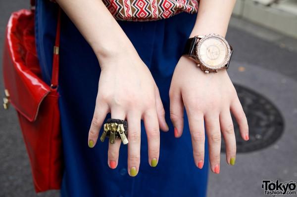 Zipper ring & oversize watch
