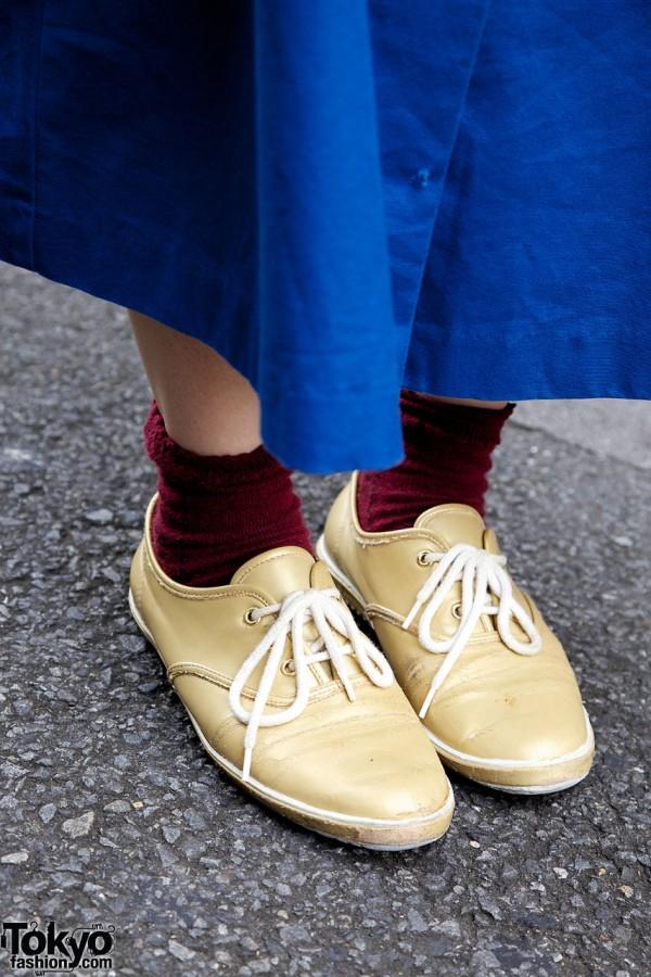 Tan Panama sneakers & blue maxi skirt