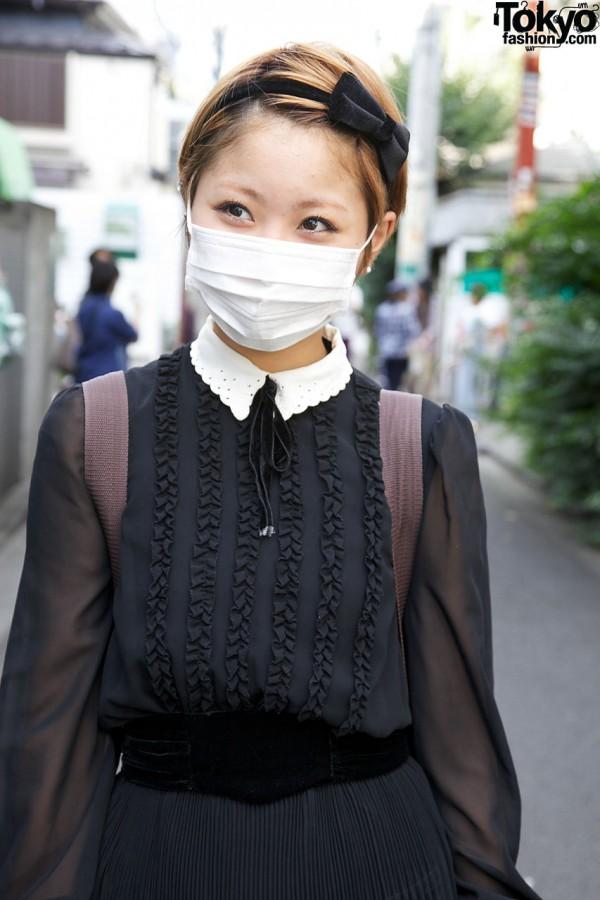 Vintage chiffon dress w/ lace collar