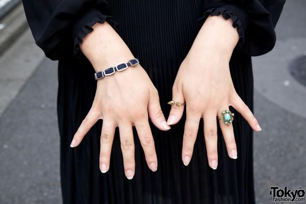 Vintage stone ring & Nadia winged ring