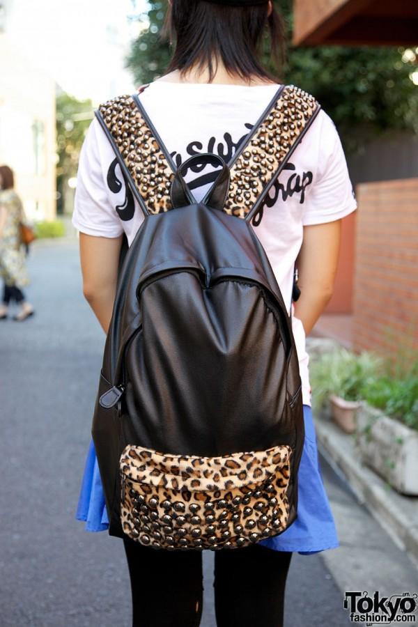 Glad News animal print studded backpack