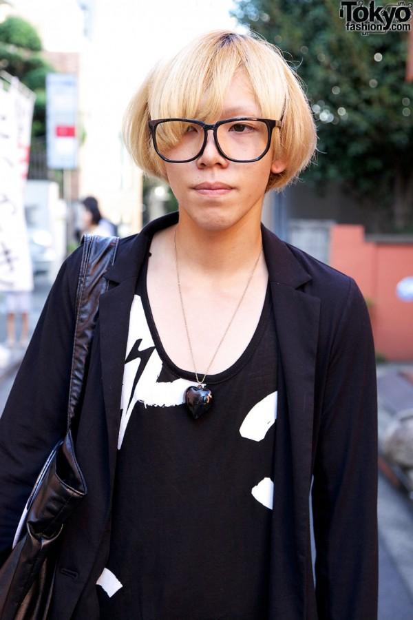 Large glasses & graphic t-shirt