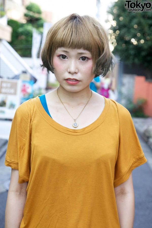 Gold Zara t-shirt in Harajuku
