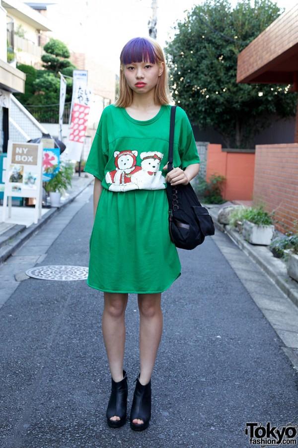 Belted Kinji T-Shirt Dress in Harajuku