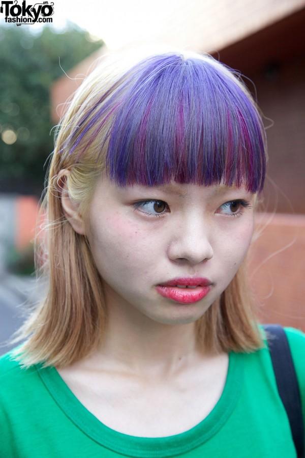 Purple Short Bangs Japanese Hairstyle