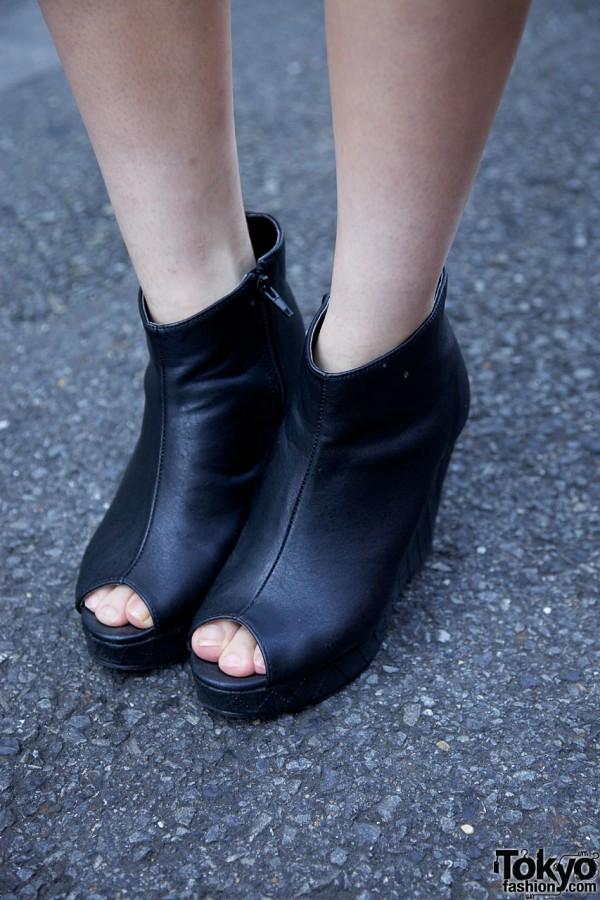 Black Platform Booties in Harajuku