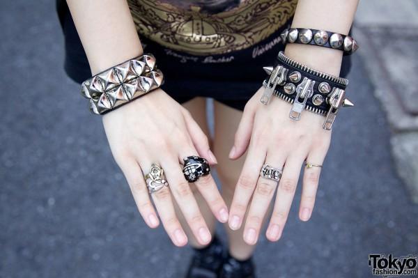 FEAR Zipper Bracelet & Vivienne Westwood Rings
