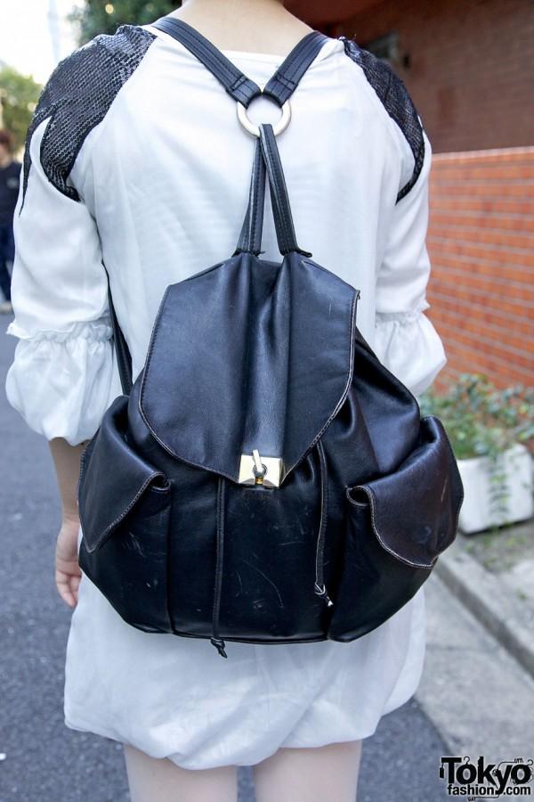 Vintage Leather Backpack in Harajuku