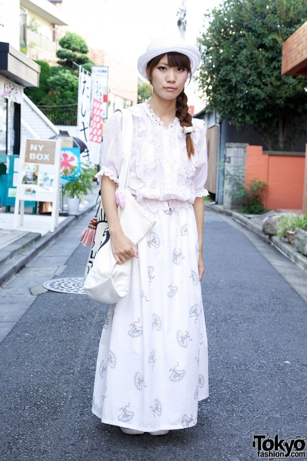 Harajuku Girl's Ruffled Kinji Blouse & Maxi Conocoto Skirt