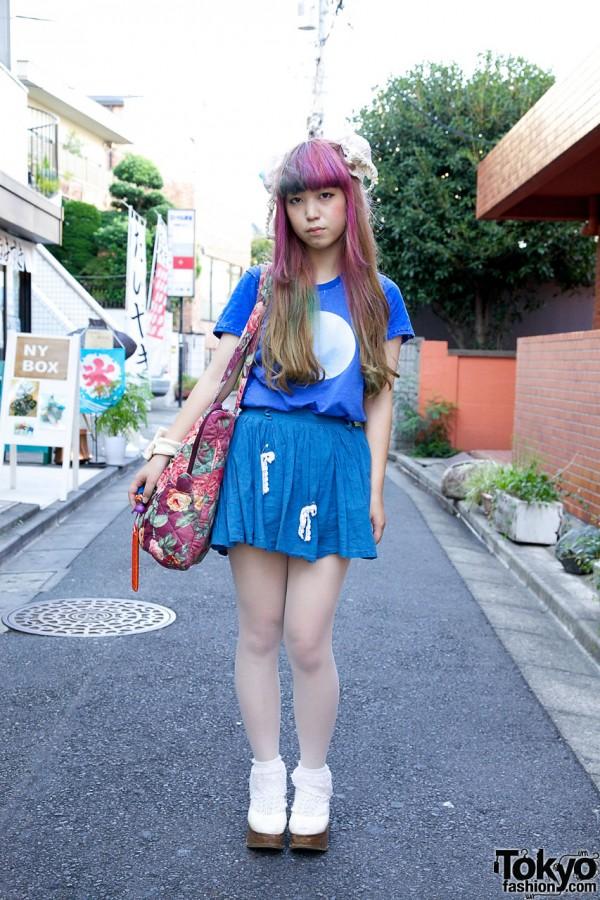 Pink-Purple Haired Harajuku Girl's Keisuke Kanda Top & Rocking Horse Shoes