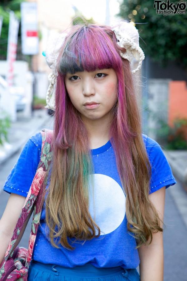 Purple-Pink-Blue-Green Hair in Harajuku