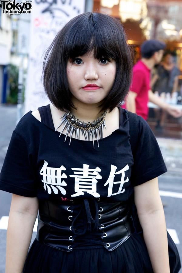 Kanji t-shrit & spike necklace in Harajuku