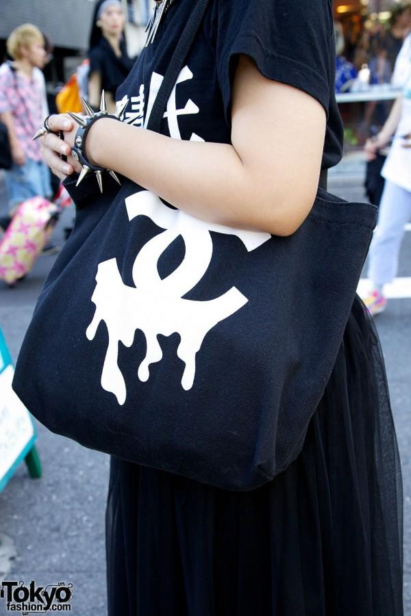 Dripping logo tote bag in Harajuku