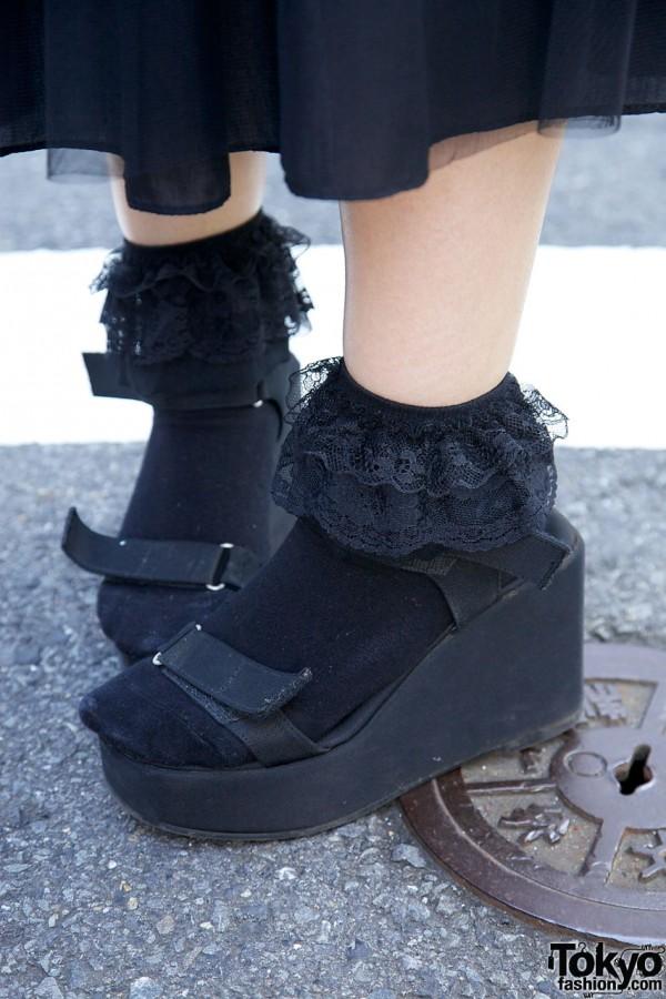 Black ruffled socks & wedge sandals in Harajuku