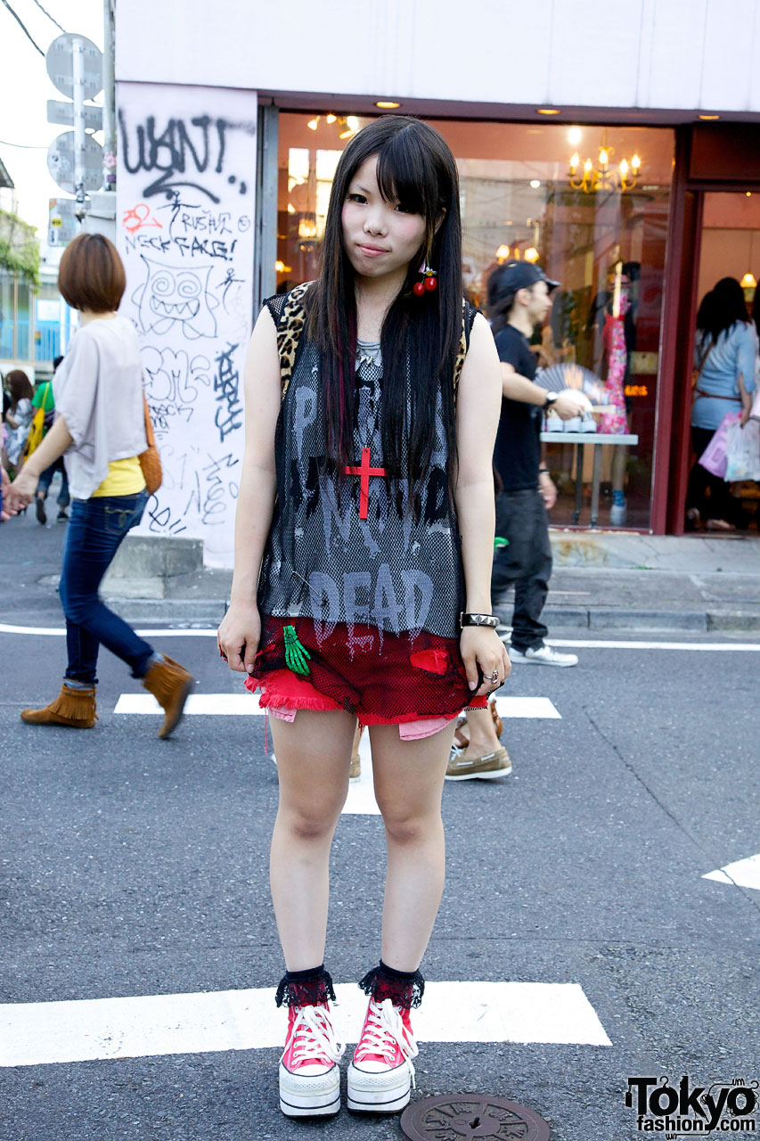 Punks Not Dead Fishnet Style in Harajuku