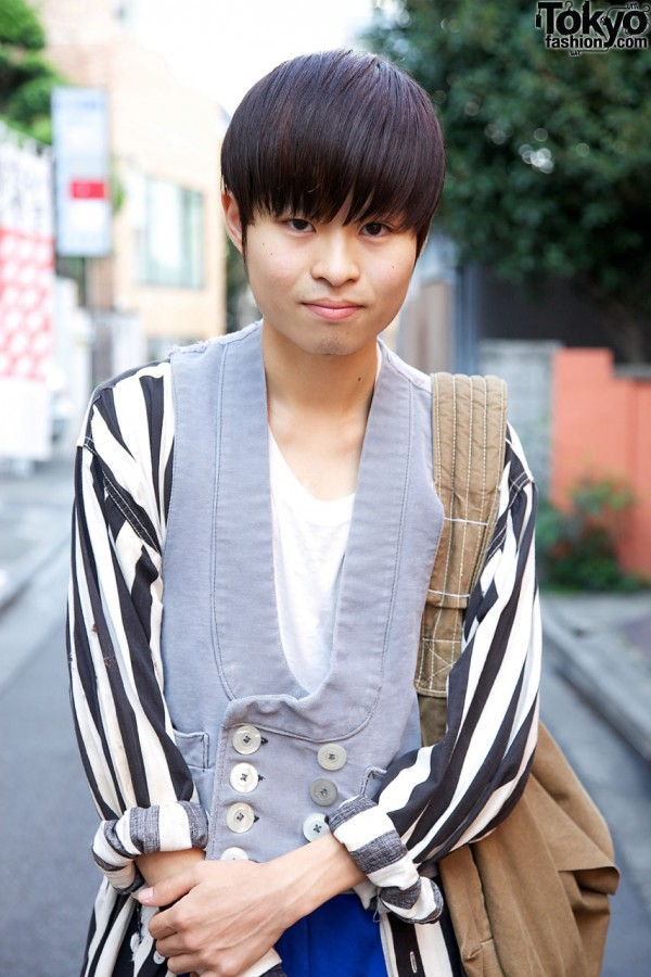 Resale striped shirt & vintage vest in Harajuku