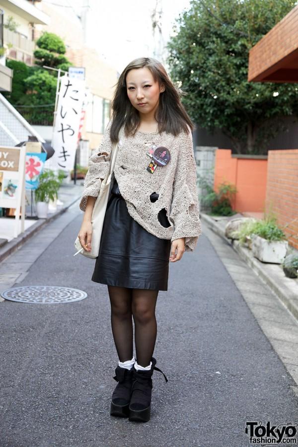 Leather Skirt & Distressed Handmade Sweater in Harajuku