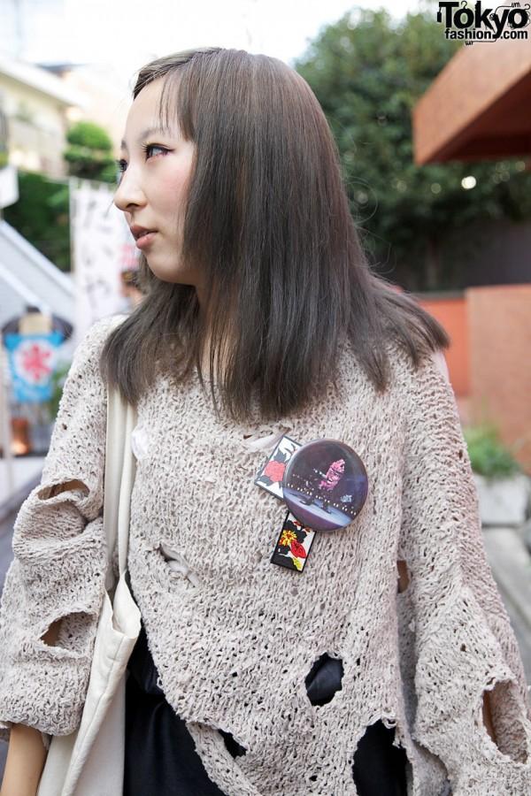 Handmade sweater & buttons in Harajuku