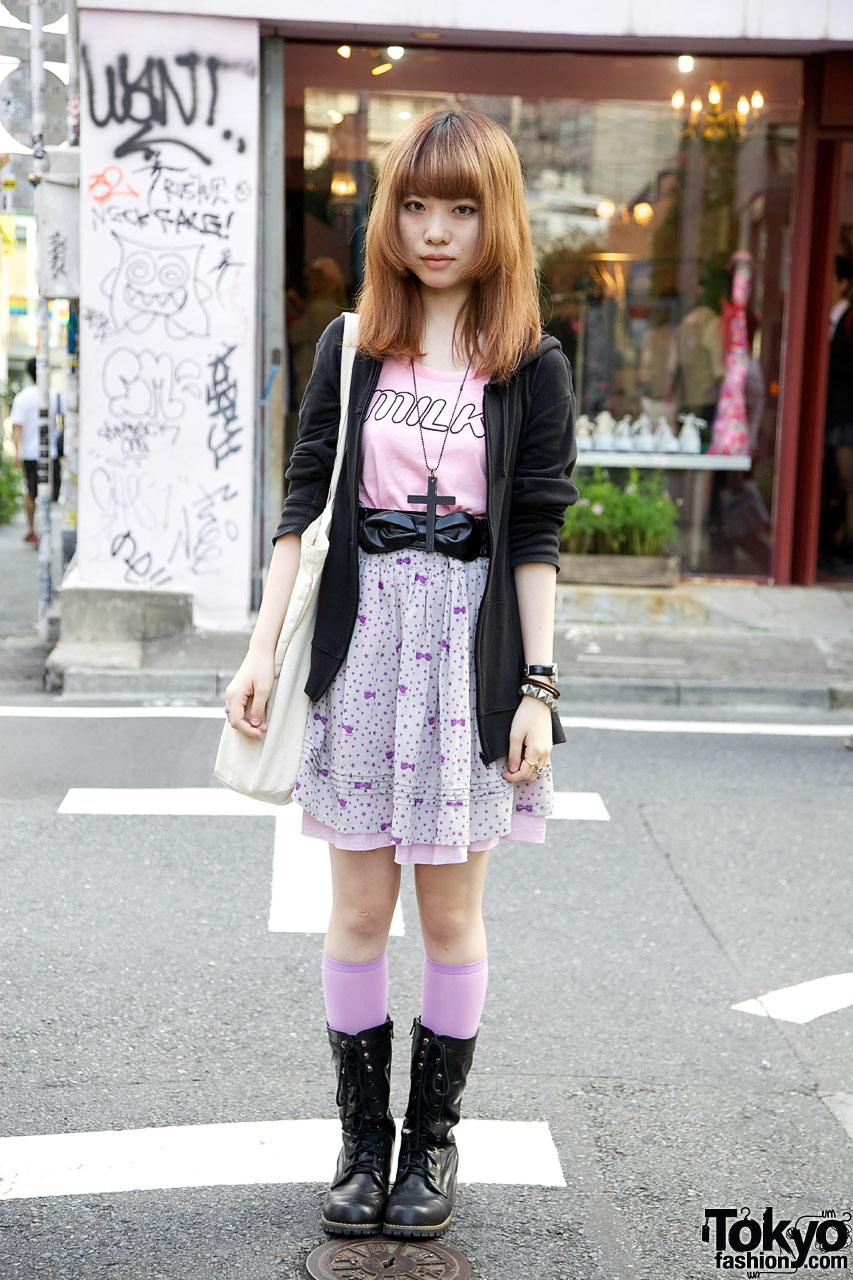 Milk Tank & World Wide Love Skirt in Harajuku