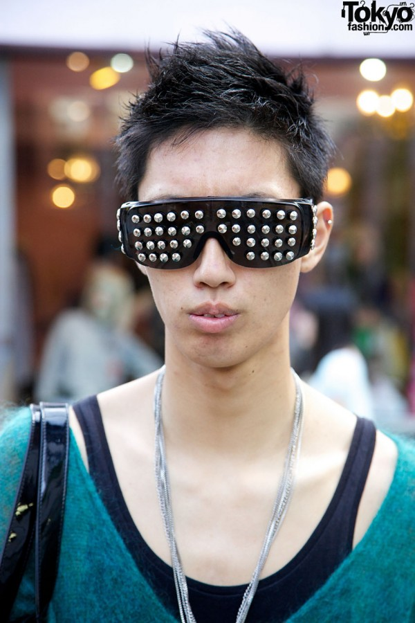 Guy with cool spiked sunglasses in Harajuku