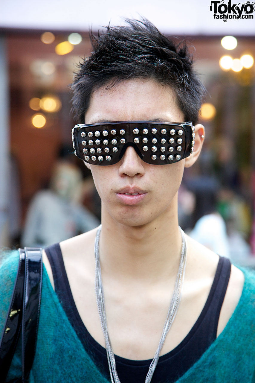 Guy With Sunglasses  harajuku guy s studded sunglasses april 77 skinny jeans
