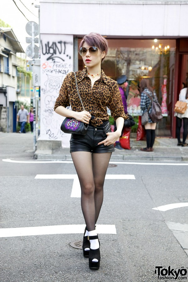 Faux Leather Shorts, Leopard Print Top, Suede Wedges & Anna Sui in Harajuku