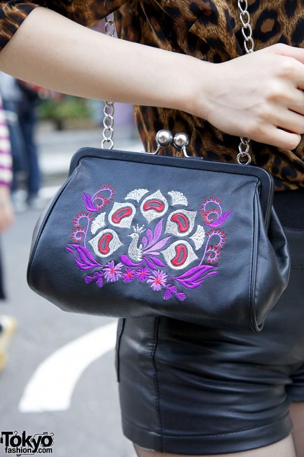 Anna Sui Embroidered Chain Purse