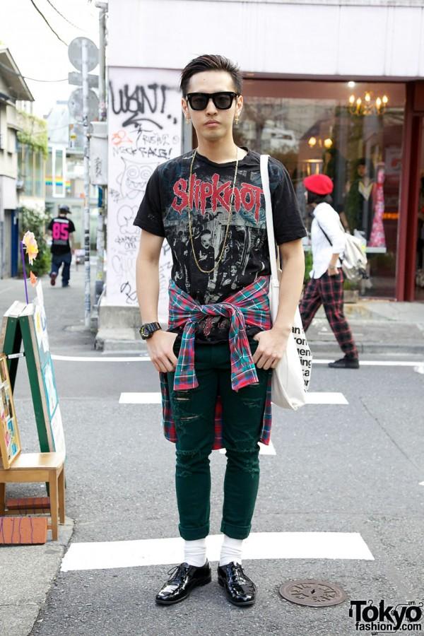 Harajuku Guy's Slipknot Tee, Roc Star Jeans & American Apparel Patent Shoes