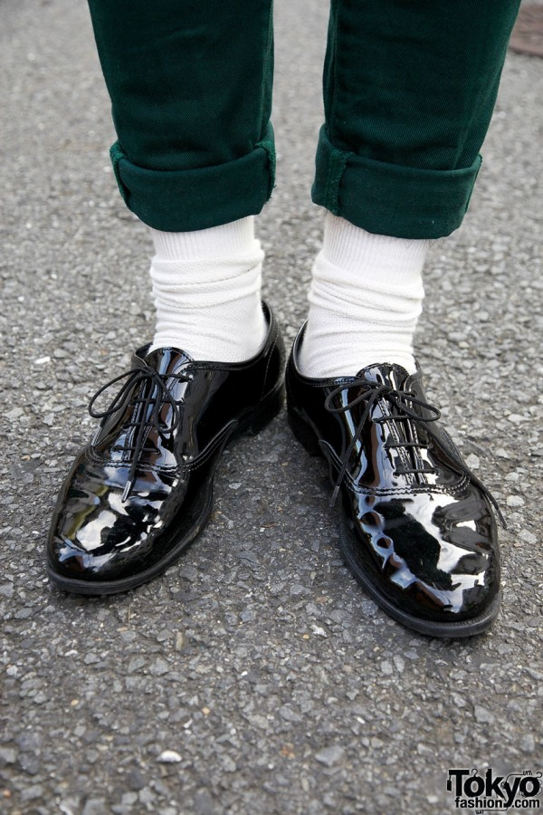 American Apparel patent leather shoes in Harajuku