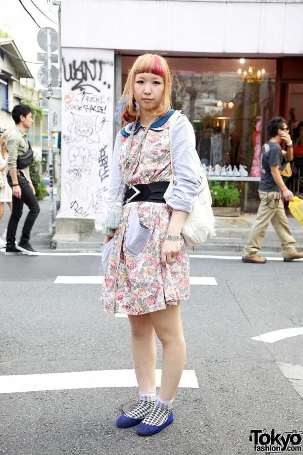 Pink-Haired Girl's Handmade Dress, Tassel Necklace & I Am I Flats in Harajuku