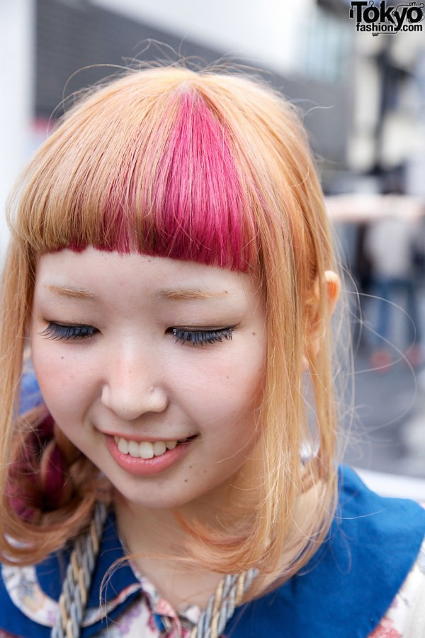 Pink Streaked Japanese Hairstyle