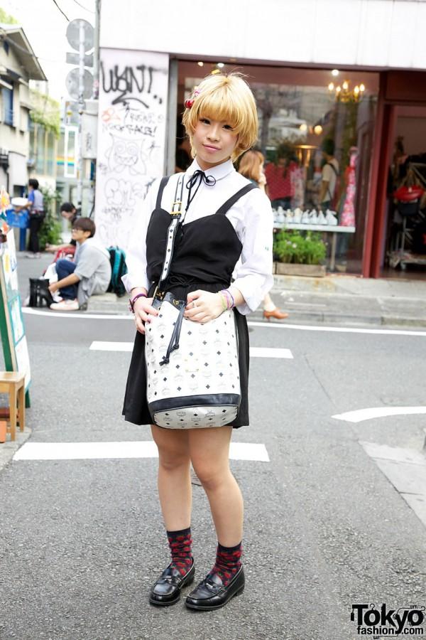 Cherry Hair Clip, MCM Bucket Bag, Torquata Ring & Haruta Penny Loafers in Harajuku