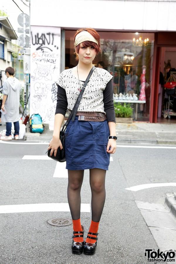 H&M top w/ Zara skirt in Harajuku