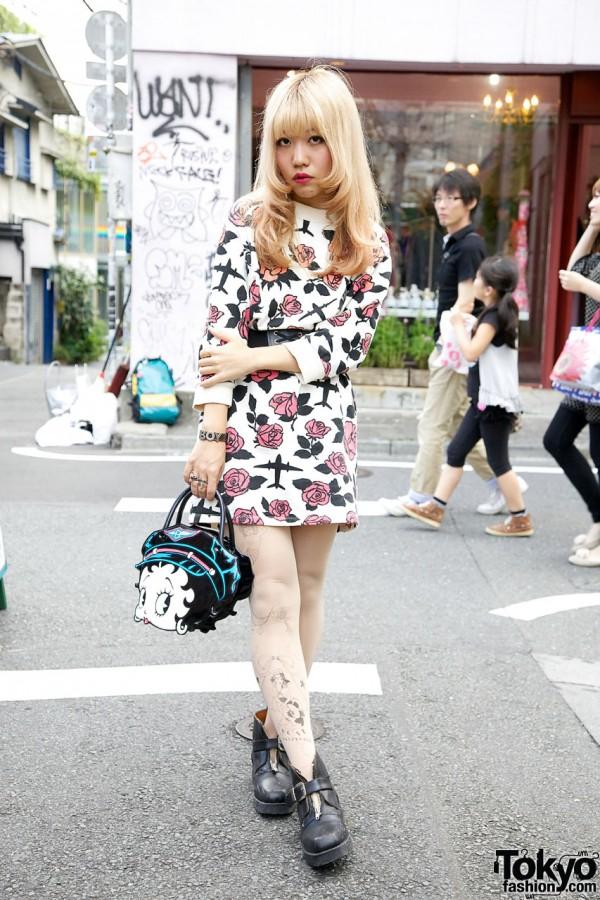 Harajuku Girl's Jeremy Scott Dress, Bebaroque Tights, Boots & Betty Boop Bag