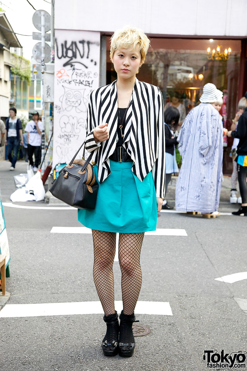 Japanese Girl W Short Blonde Hair H Amp M Striped Blazer