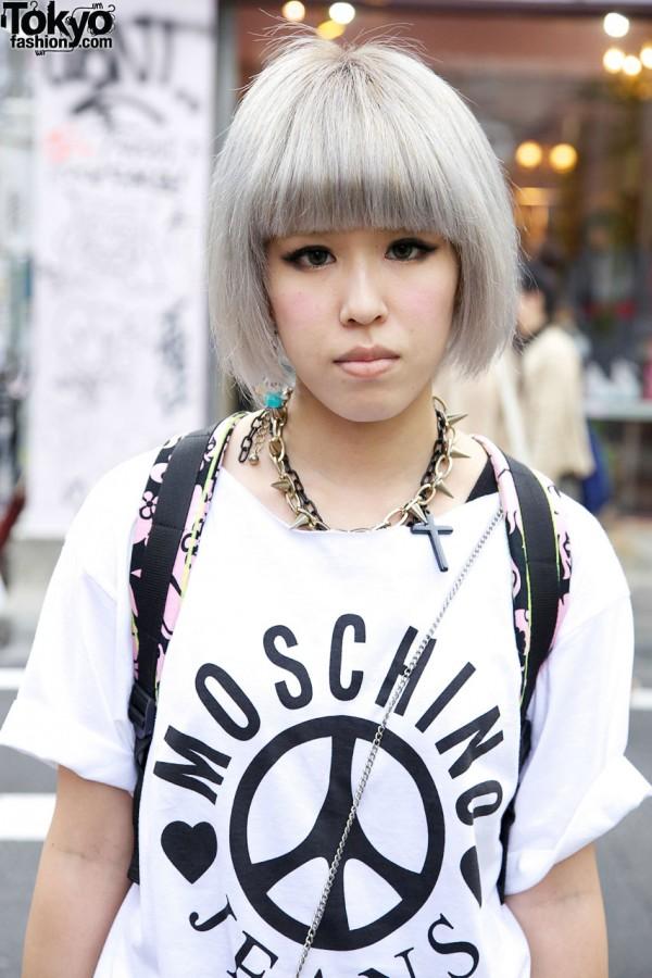Japanese Girl in Moschino Top in Harajuku