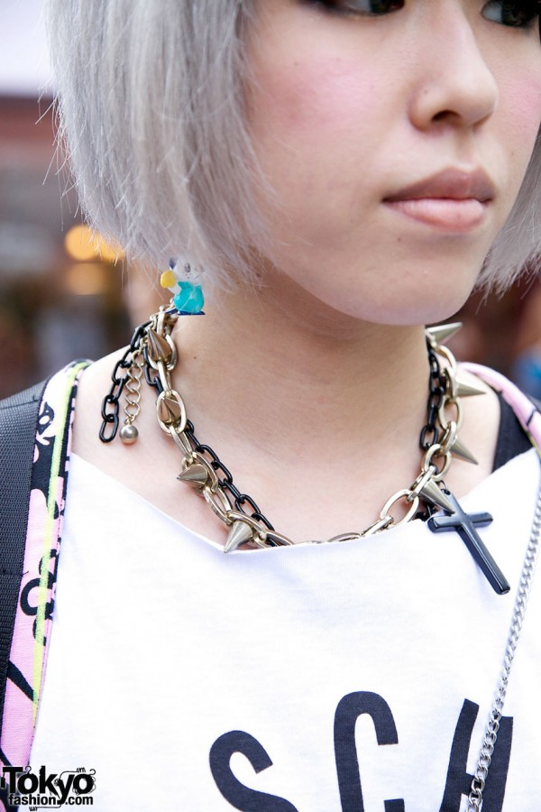 Spiked and Cross Necklace in Harajuku