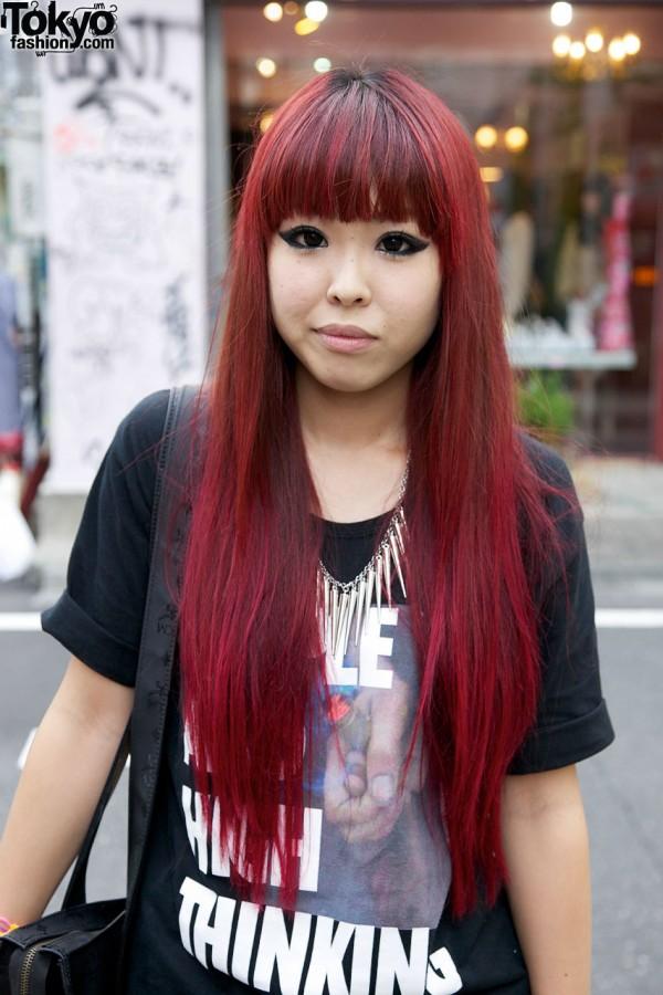 Harajuku girl with long magenta hair