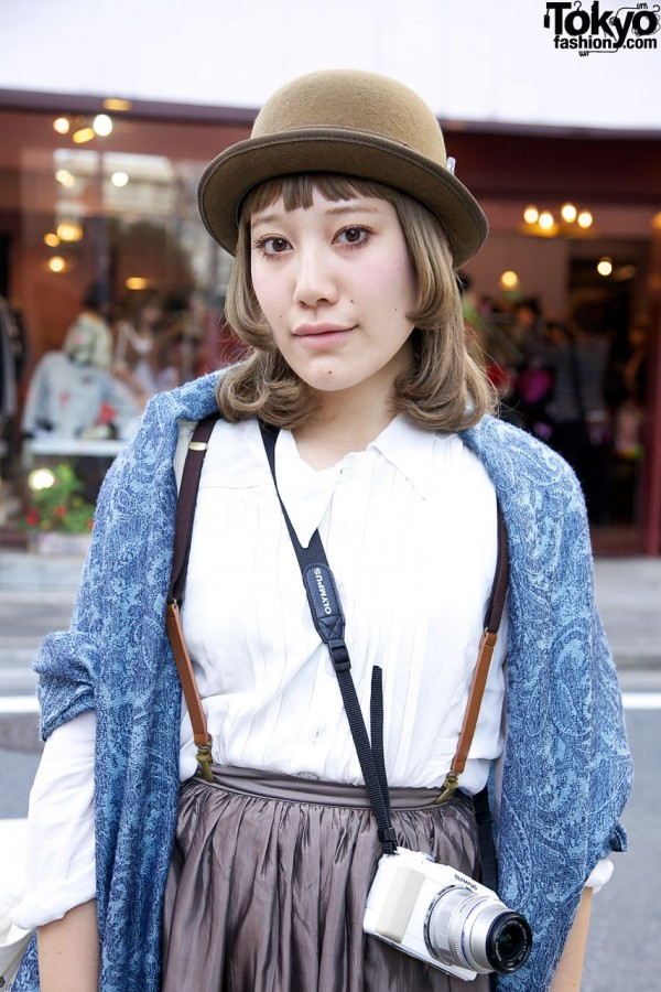 Derby hat & maxi skirt wth suspenders in Harajuku