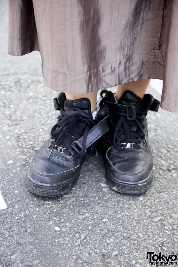 Black Nike sneakers in Harajuku