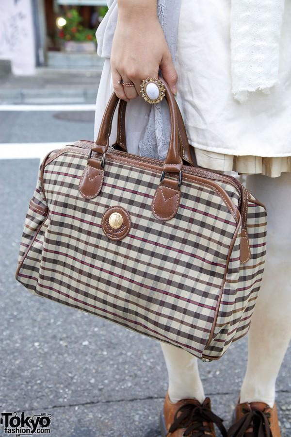 Oscar Bianchi plaid purse in Harajuku