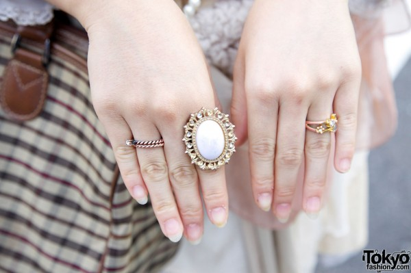 Large vintage-style ring & two smaller rings in Harajuku
