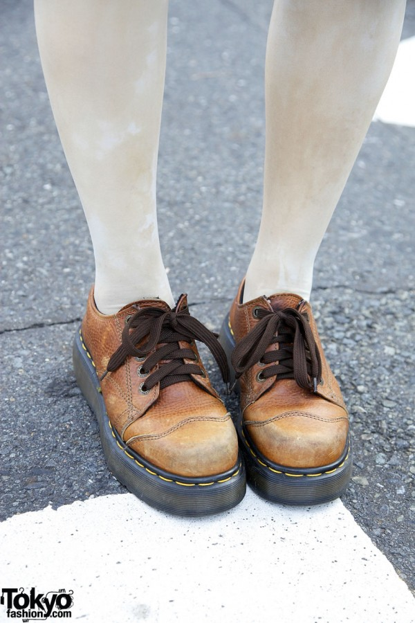 White tights & Dr. Martens shoes in Harajuku