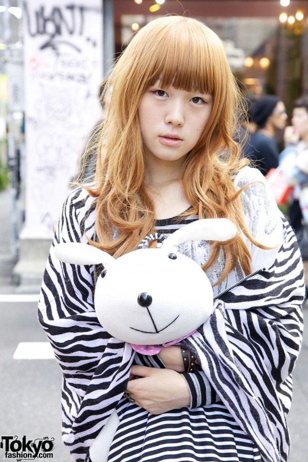 Zebra Print Shawl & Rabbit in Harajuku