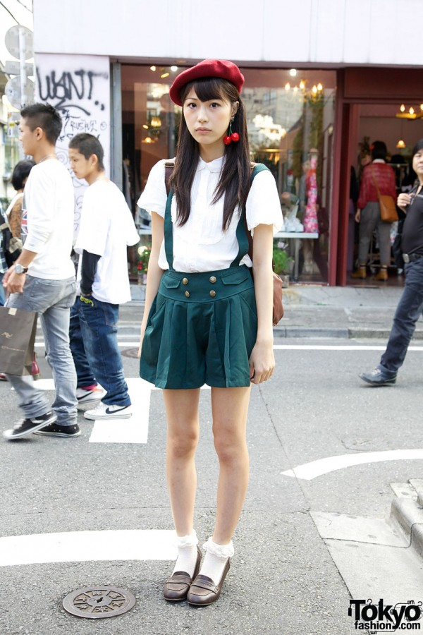 Pleated Suspender Shorts in Harajuku