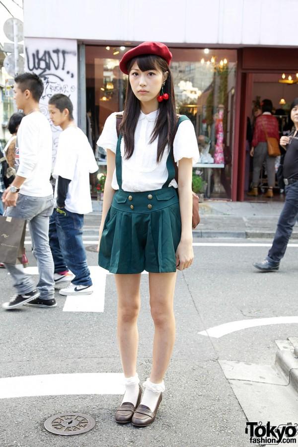 Harajuku Girl's Pleated Suspender Shorts, High Heel Loafers & Cherry Earrings