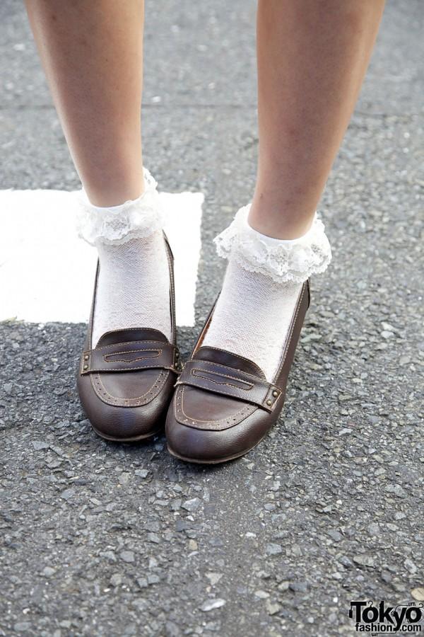 High Heel Loafers & Ruffle Socks
